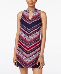 Trixxi Juniors' Printed Keyhole Shift Dress Navy Multi