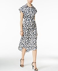 Bar Iii Short Sleeve Animal Print Shirdress Only At Macy's Washed White Combo