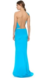 Kaufman Franco One Shoulder Gown Turquoise