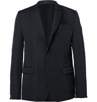 Sacai Blue Slim Fit Unstructured Twill Blazer Navy