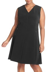 Plus Size Women's Halogen Zip Pocket V Neck A Line Dress Black