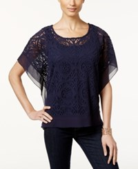 Jm Collection Petite Lace Poncho Sleeve Blouse Only At Macy's Intrepid Blue