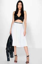 Boohoo Plain Full Circle Skater Skirt Ivory