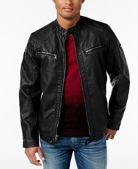 Inc International Concepts Men's Faux Leather Zip Front Moto Jacket Only At Macy's Black