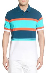 Men's O By Oscar De La Renta Stripe Pique Polo Orange