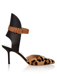 Francesco Russo Point Toe Leather And Calf Hair Pumps