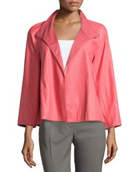 Lafayette 148 New York Mckenna Crosshatch Embossed Leather Topper Coral