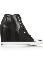 Dkny Grommet Appliqued Canvas Wedge Sneakers
