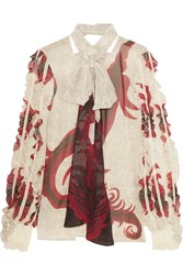 Just Cavalli Pussy Bow Printed Chiffon Blouse Red