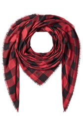 Dsquared2 Buffalo Check Scarf With Cashmere Red
