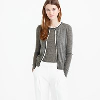 J.Crew Tipped Lightweight Wool Jackie Cardigan Sweater