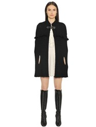 Philosophy Di Lorenzo Serafini Ruffled Merino Wool Cable Knit Cape