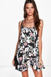 Boohoo Floral Strappy Detail Swing Dress Black