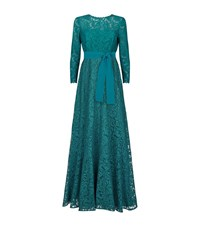 Escada Gwinova Long Sleeve Lace Gown Female Green