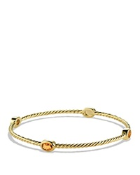 David Yurman Color Classics Four Station Bangle With Citrine Yellow Gold Orange
