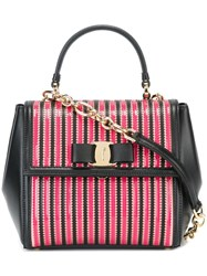 Salvatore Ferragamo Striped 'Carrie' Tote Pink And Purple