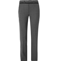 Chalayan Slim Fit Grosgrain Trimmed Stretch Flannel Trousers Gray