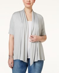 Ing Plus Size Short Sleeve Open Front Cardigan New Grey
