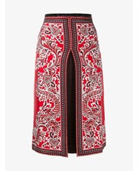 Alexander Mcqueen Paisley Print Box Pleat Silk Skirt Red Multi Coloured
