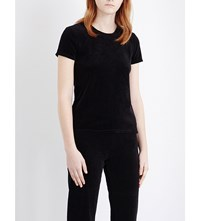 Juicy Couture Embellished Velour T Shirt Pitch Black