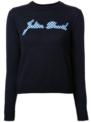 Julien David Checked Intarsia Detail Jumper Black