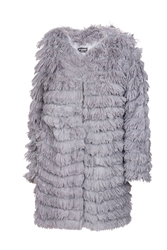 Indulgence Fluffy Long Coat Grey