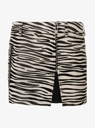 Filles A Papa Zebra Print Leather Mini Skirt Black White Silver