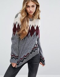 Pull And Bear Pullandbear Fairisle Printed Jumper Multi