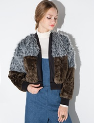 Tds Grey And Brown Faux Fur Bomber Jacket