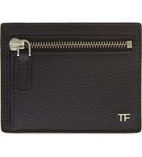Tom Ford Grained Leather Zip Card Holder Black