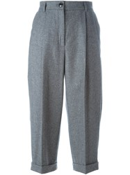 Dolce And Gabbana Pleated Cropped Trousers Grey