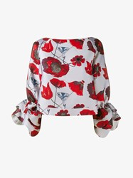 Osman Poppy Print Jacquard Blouse White Red Black