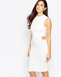 Ax Paris Overlay Dress With Cut Out Side Detail Cream