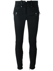 Unravel Lace Up Fastening Jeans Black