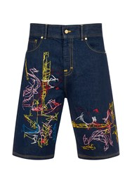 House Of Holland Carter Embroidered Shorts Blue