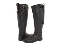 Burberry Black Equestrian Buckle Strap Rainboot