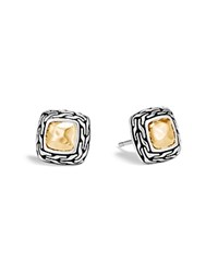 John Hardy Hammered 18K Yellow Gold And Sterling Silver Classic Chain Stud Earrings Silver Gold