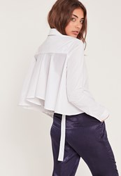 Missguided Frill Back Buckle Shirt White White