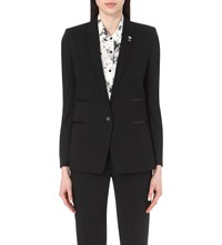 The Kooples Single Breasted Leather Trimmed Woven Jacket Black