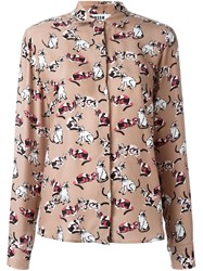 Msgm Cat Print Shirt Brown