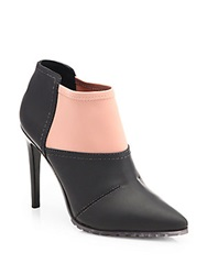 Tibi Kirby Bicolor Stretchy Ankle Boots Black Blush