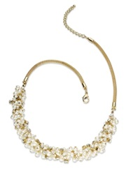 Charter Club Gold Tone Glass Pearl Cluster Necklace