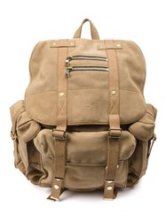 Balmain Multi Pocket Backpack Nude And Neutrals
