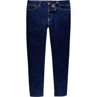 River Island Mens Dark Blue Sid Skinny Stretch Cropped Jeans
