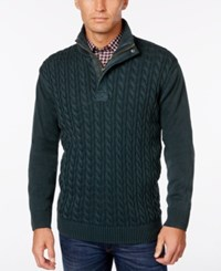 Weatherproof Vintage Men's Big And Tall Cable Knit Sweater Only At Macy's Dark Olive