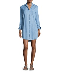 Frank And Eileen Mary Long Sleeve Chambray Shirtdress Blue