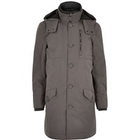 River Island Mens Grey Casual Long Parka Jacket
