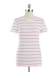 Lord And Taylor Plus Striped Scoop Neck Tee Powder Pink