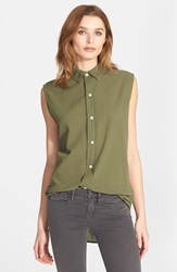 Current Elliott 'The Grad Shirt' Sleeveless Cotton Shirt Army Green