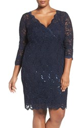 Marina Plus Size Women's Sequin Lace V Neck Sheath Dress